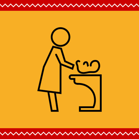 changing: Icon of mother changing diaper with baby lying on changing table Illustration