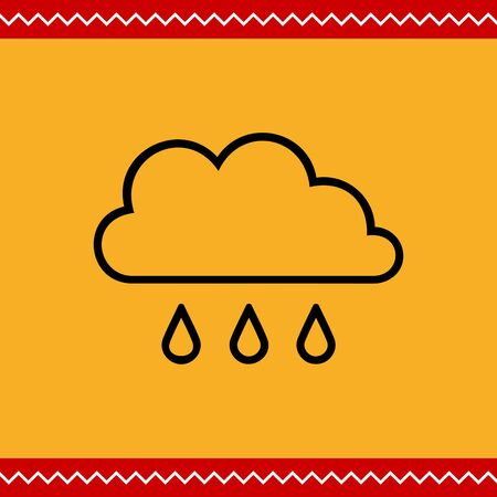 few: Icon of clouds and few falling raindrops
