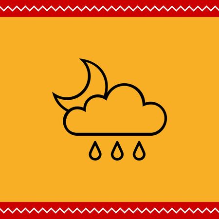 downfall: Icon of cloud with raindrops and crescent moon Illustration