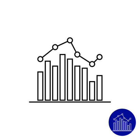 line graph: Icon of bar chart with line graph Illustration