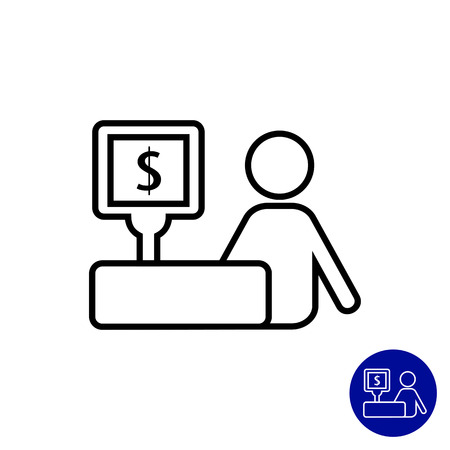 Icon of cashier and cash register with dollar sign