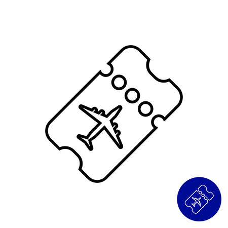 boarding card: Icon of perforated boarding card with airplane silhouette Illustration
