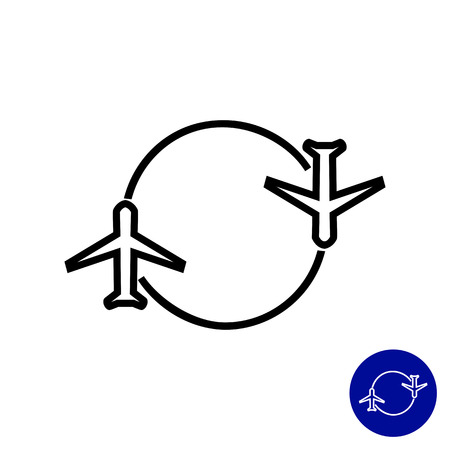 ruchome: Icon of two airplanes moving round circle