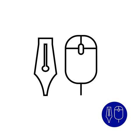 computer mouse icon: Icon of computer mouse and ink pen nib