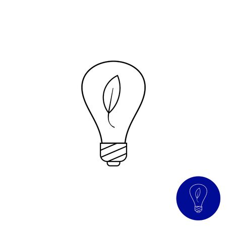 filament: Line icon of environment friendly lightbulb with leaf inside