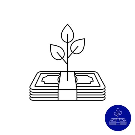 leaf silhouette: Icon of tree growing on banknote stack