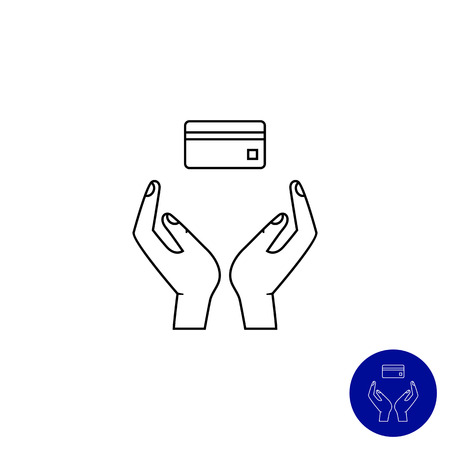 holding credit card: Icon of human hands holding credit card