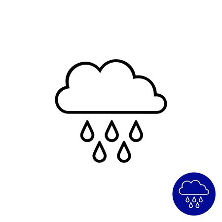 downfall: Icon of clouds and falling raindrops