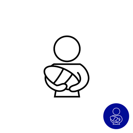 mother holding baby: Icon of mother holding newborn baby Illustration