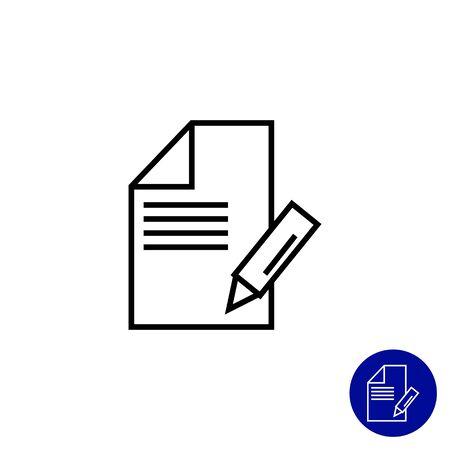 Icône de la feuille de papier avec un crayon à prendre des notes Vecteurs