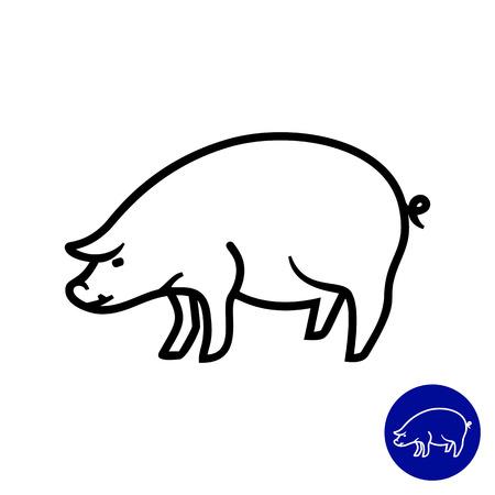 pig farm: Pig icon Illustration