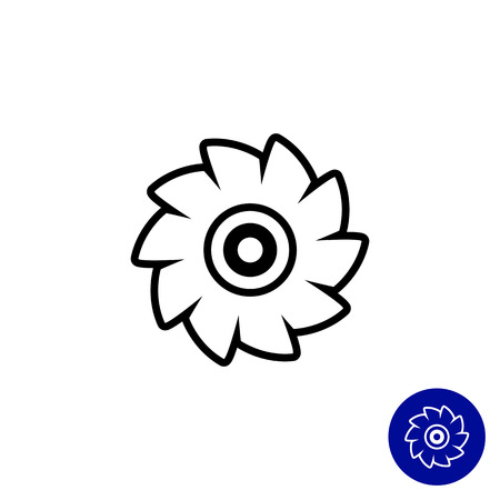 sawing: Icon of circular saw disc