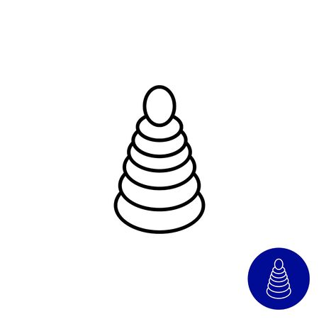 baby playing toy: Icon of stacking toy Illustration