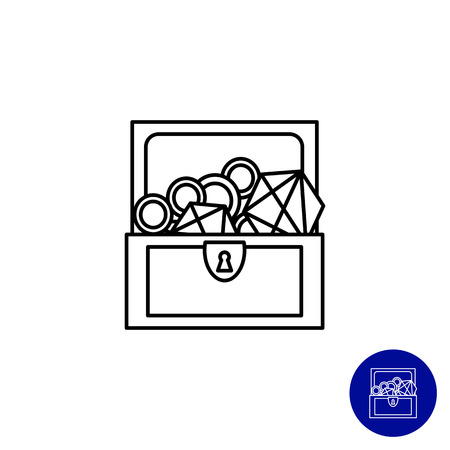 treasure: Icon of open treasure chest with diamonds and gold Illustration