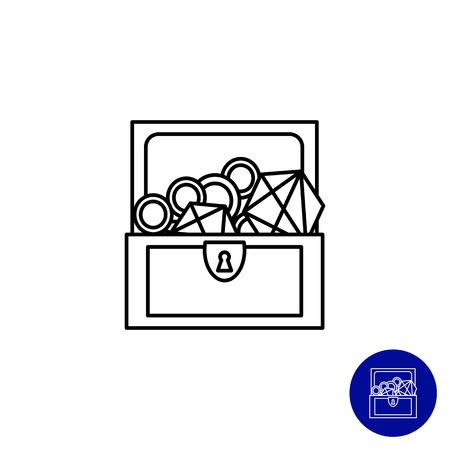 cofre del tesoro: Icono del cofre del tesoro abierto con diamantes y oro Vectores