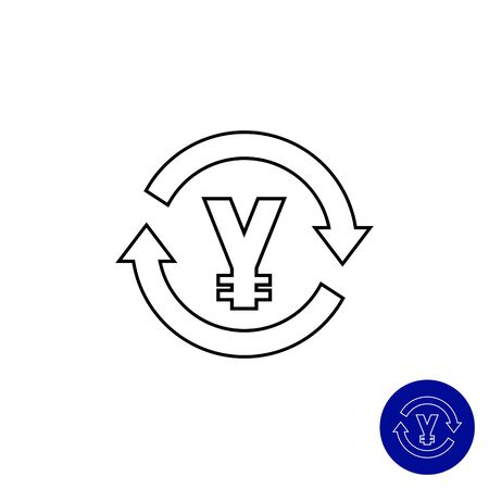yen sign: Icon of yen sign in circle made of arrows