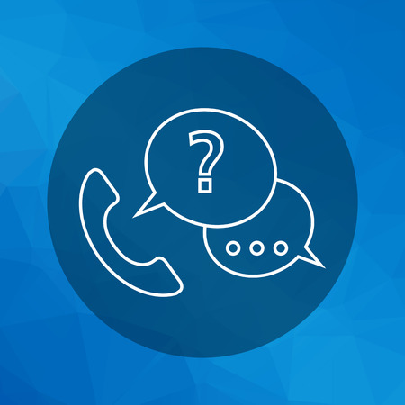 call center icon: Icon of telephone receiver with speech bubbles and question mark