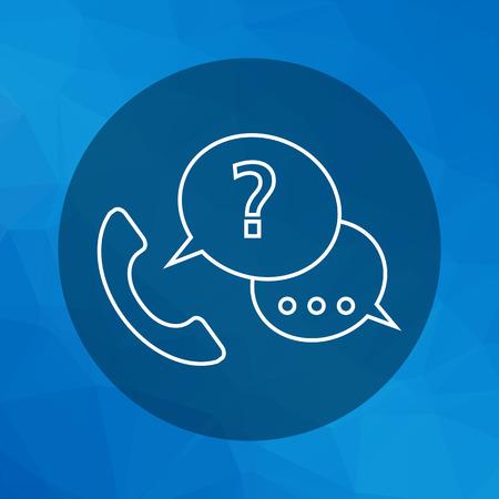 punto di domanda: Icona della cornetta del telefono con fumetti e punto interrogativo