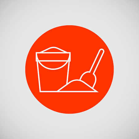 baby playing toy: Icon of bucket with sand and spade