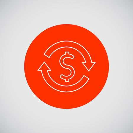 sign in: Icon of dollar sign in circle made of arrows