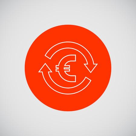 euro teken: Icon of euro sign in circle made of arrows Stock Illustratie
