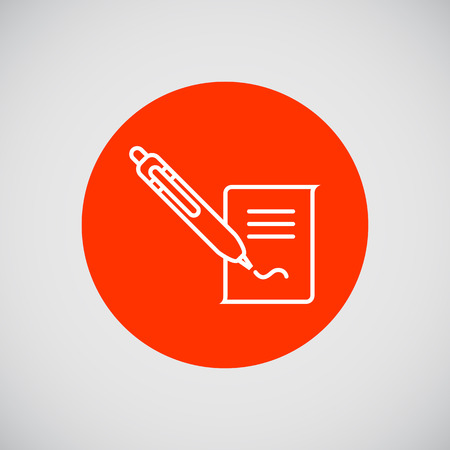 Icon of document and writing pen putting signature