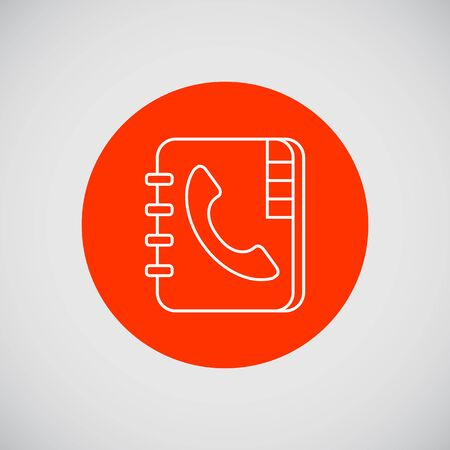 Icon of telephone book with telephone receiver on cover Illustration