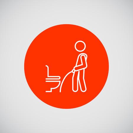 urinare: Icona di silhouette uomo urinare in bagno pubblico