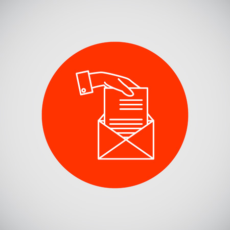 putting: Icon of man hand putting sheet of paper into envelope Illustration