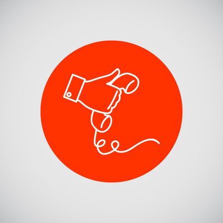 telephone icon: Icon of man hand holding telephone receiver Illustration
