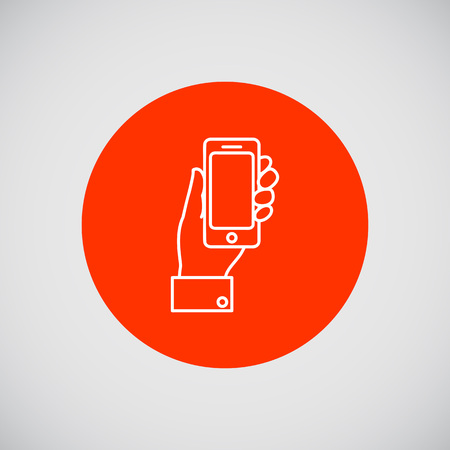 smartphone in hand: Icon of man hand holding smartphone