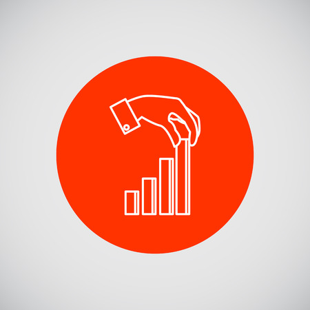 putting: Icon of man hand putting last element of bar chart
