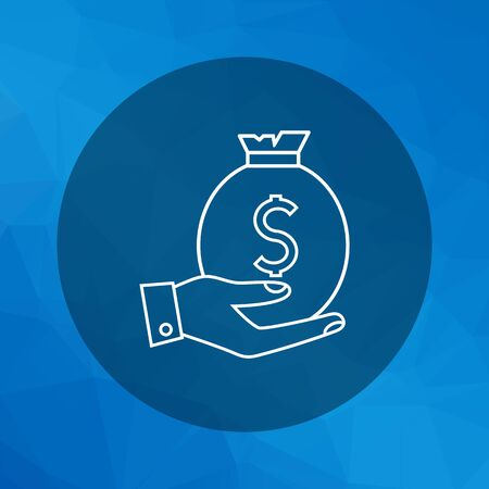 man holding money: Icon of man hand holding money bag with dollar sign Illustration