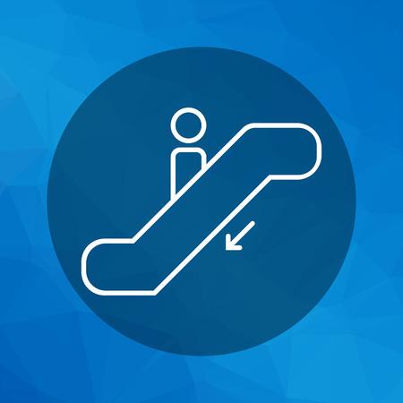 ruchome: Ikona sylwetkę człowieka porusza się na schodach ruchomych Ilustracja