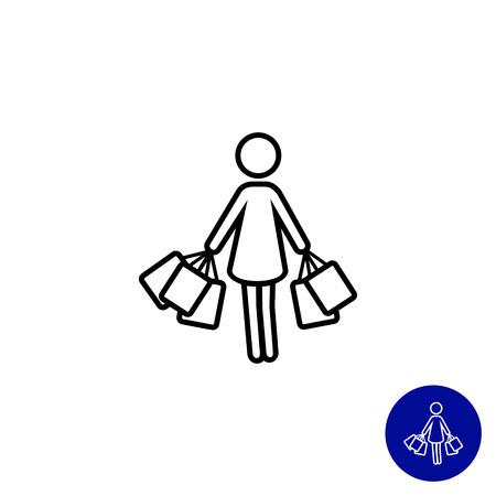 Icône de la femme silhouette à porter les sacs Banque d'images - 44119953