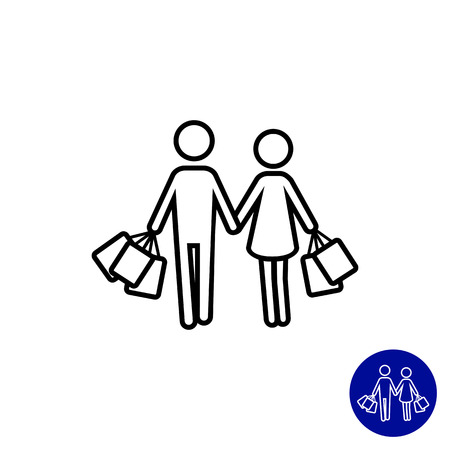 Icon of man and woman silhouette carrying shopping bags 일러스트