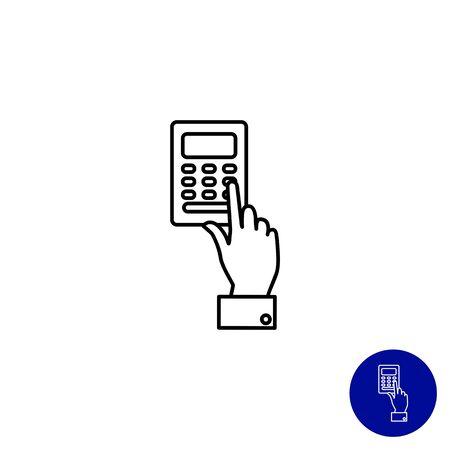 pressing: Icon of man hand pressing ATM keypad