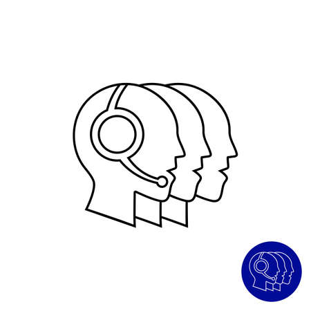 callcenter: Icon of men head silhouettes wearing headsets