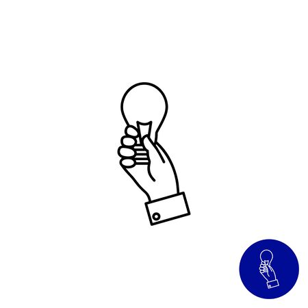 man holding transparent: Icon of man hand holding lightbulb