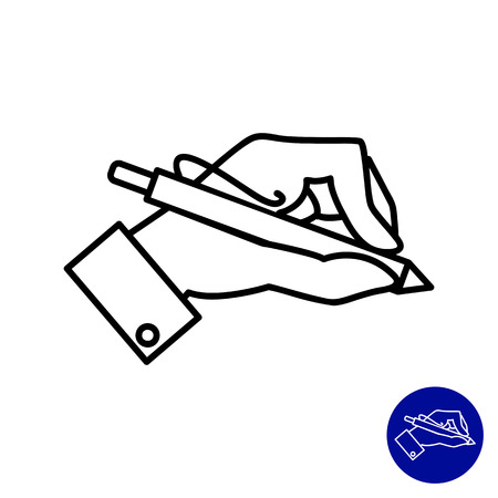 Icon of man hand holding pen