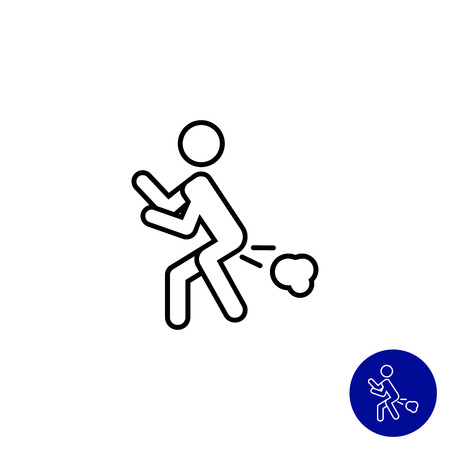 intestinal problems: Icon of man silhouette with flatulence