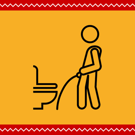 urination: Icon of man silhouette urinating in public restroom