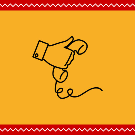 telephone receiver: Icon of man hand holding telephone receiver Illustration