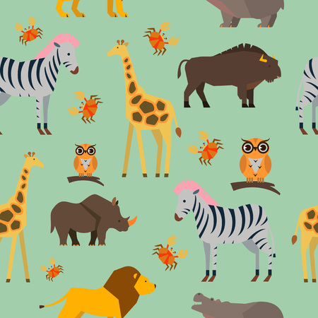 Seamless pattern with wild animals concept on light green background