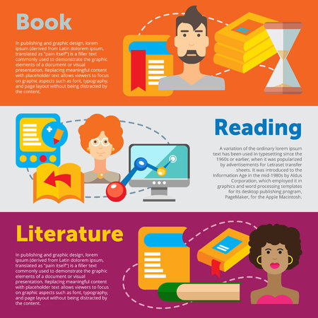 woman reading book: Set of flat design concepts of books, reading and literature on colored background Illustration