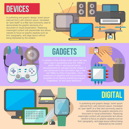 retro tv: Set of flat design concepts of digital devices and gadgets on colored background