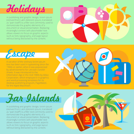 faraway: Set of flat design concepts of holidays, escape and faraway islands on colored background Illustration