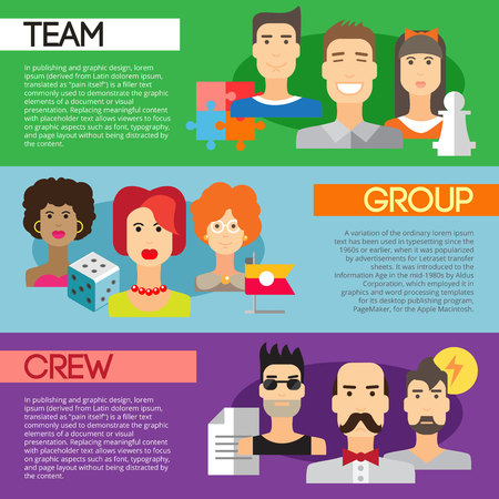 Set of flat design concepts of team, group and crew on colored background