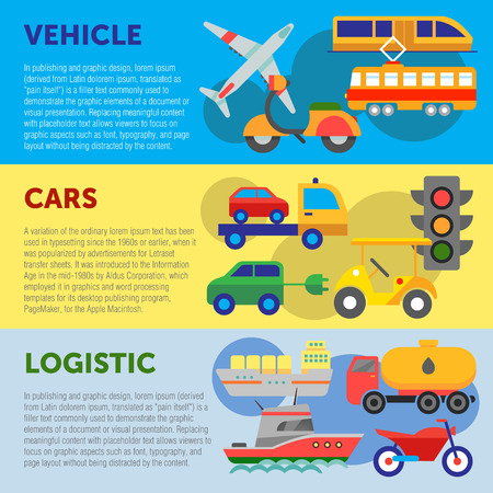 evacuating: Set of flat design concepts of vehicles, cars and logistics on colored background Illustration