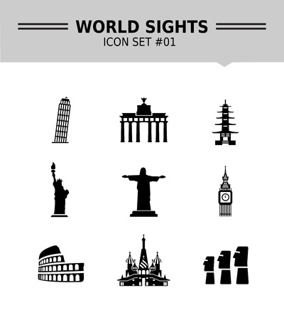 moai: Set of vector icons with world sights and travelling concepts, isolated on white